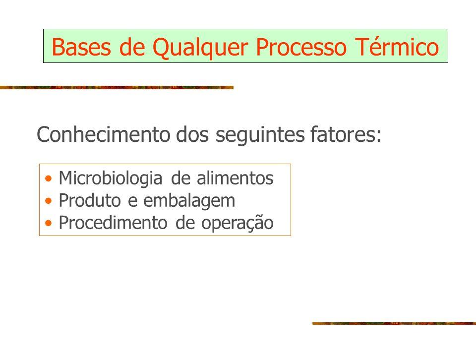 Bases de Qualquer Processo Térmico Microbiologia de alimentos Produto e embalagem Procedimento de operação Conhecimento dos seguintes fatores: