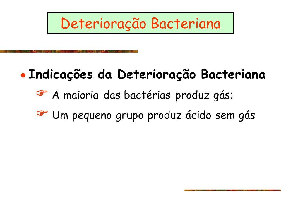 Deterioração Bacteriana Indicações da Deterioração Bacteriana A maioria das bactérias produz gás; Um pequeno grupo produz ácido sem gás