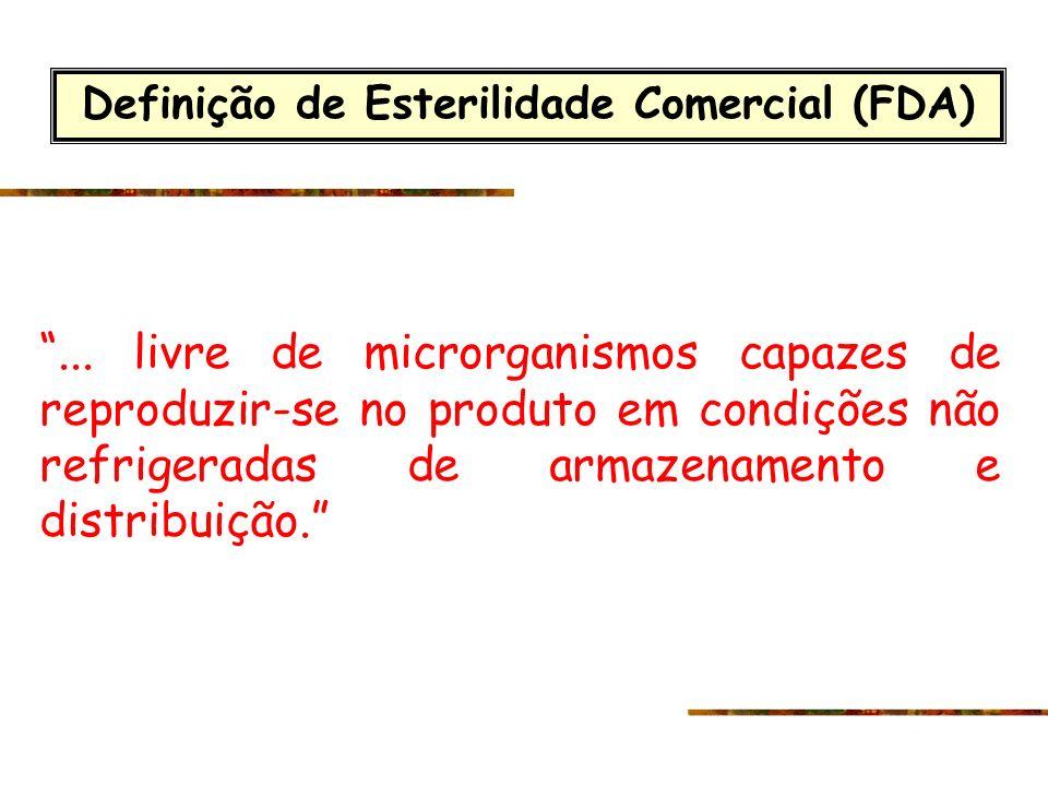 Definição de Esterilidade Comercial (FDA)... livre de microrganismos capazes de reproduzir-se no produto em condições não refrigeradas de armazenament