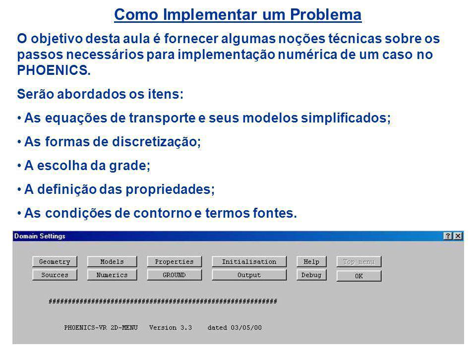 Como Implementar um Problema O objetivo desta aula é fornecer algumas noções técnicas sobre os passos necessários para implementação numérica de um ca
