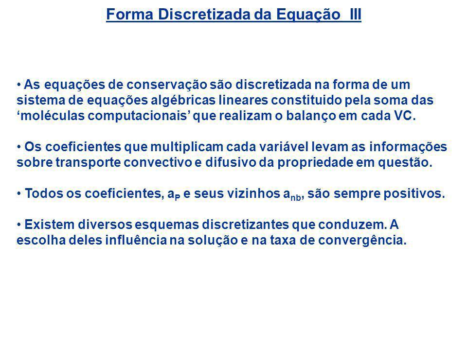 Forma Discretizada da Equação III As equações de conservação são discretizada na forma de um sistema de equações algébricas lineares constituido pela
