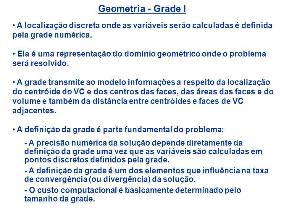 Geometria - Grade I A localização discreta onde as variáveis serão calculadas é definida pela grade numérica. Ela é uma representação do domínio geomé