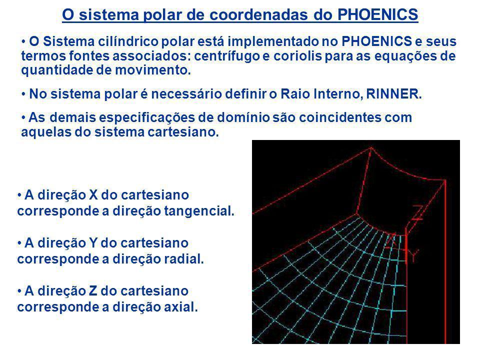 O sistema polar de coordenadas do PHOENICS O Sistema cilíndrico polar está implementado no PHOENICS e seus termos fontes associados: centrífugo e cori