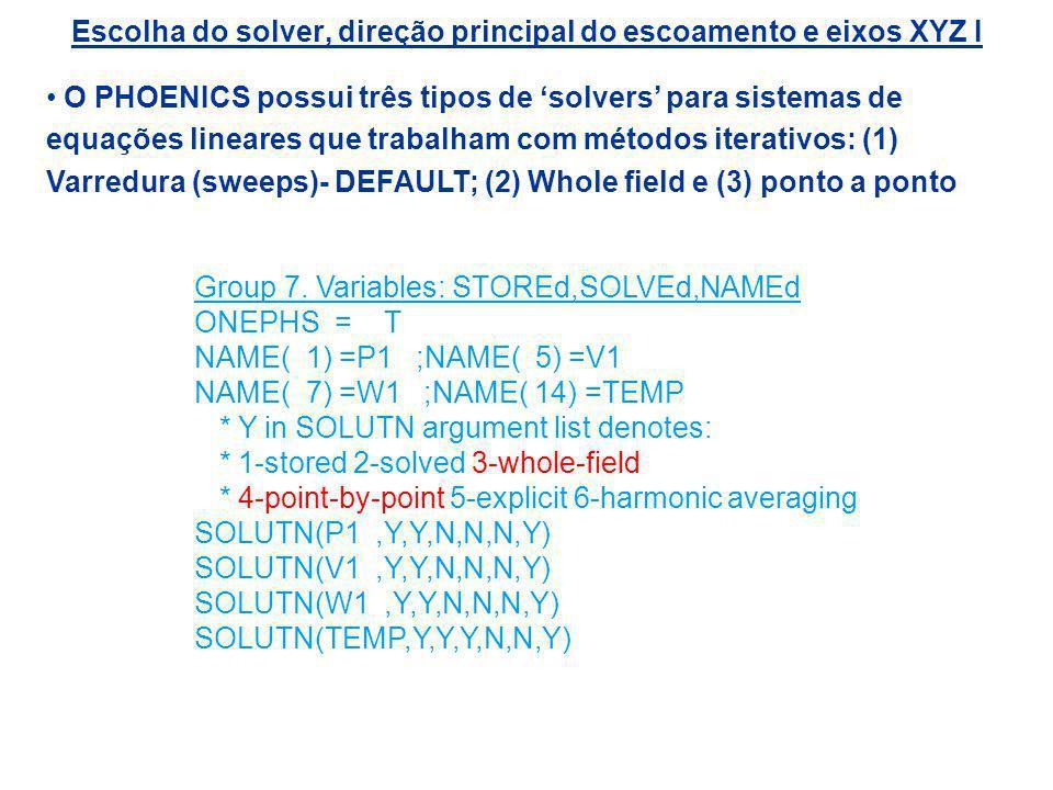 Escolha do solver, direção principal do escoamento e eixos XYZ I O PHOENICS possui três tipos de solvers para sistemas de equações lineares que trabal