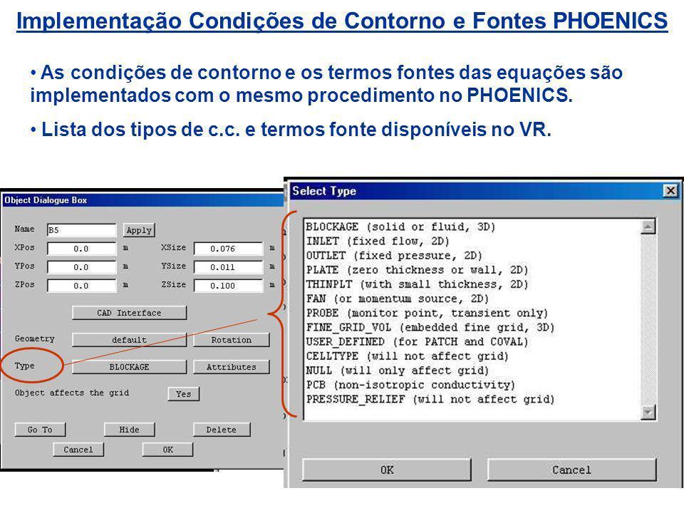 Implementação Condições de Contorno e Fontes PHOENICS As condições de contorno e os termos fontes das equações são implementados com o mesmo procedime