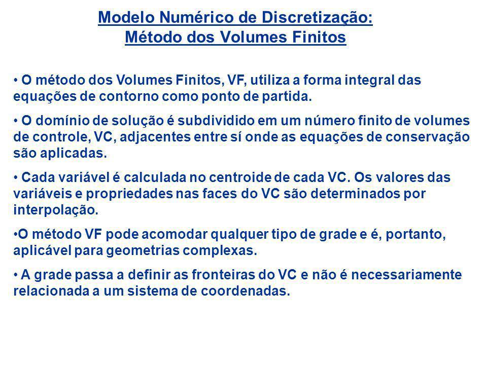 Modelo Numérico de Discretização: Método dos Volumes Finitos O método dos Volumes Finitos, VF, utiliza a forma integral das equações de contorno como