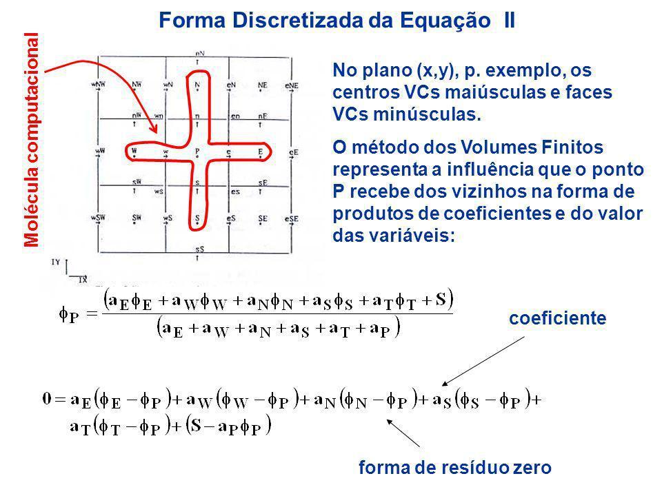 Forma Discretizada da Equação III As equações de conservação são discretizada na forma de um sistema de equações algébricas lineares constituido pela soma das moléculas computacionais que realizam o balanço em cada VC.