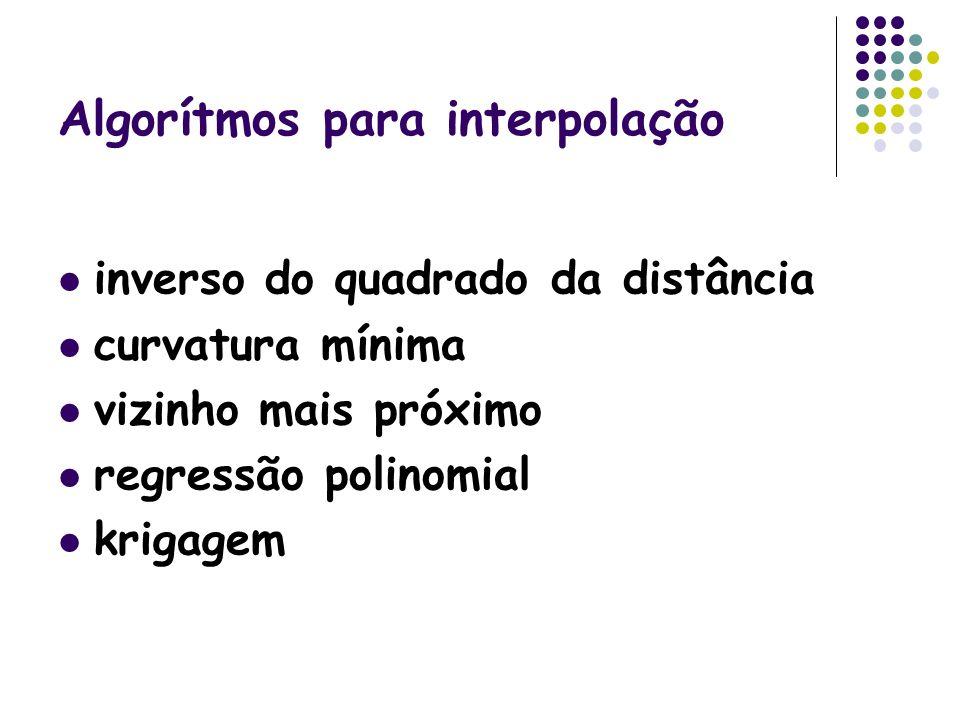 Algorítmos para interpolação inverso do quadrado da distância curvatura mínima vizinho mais próximo regressão polinomial krigagem