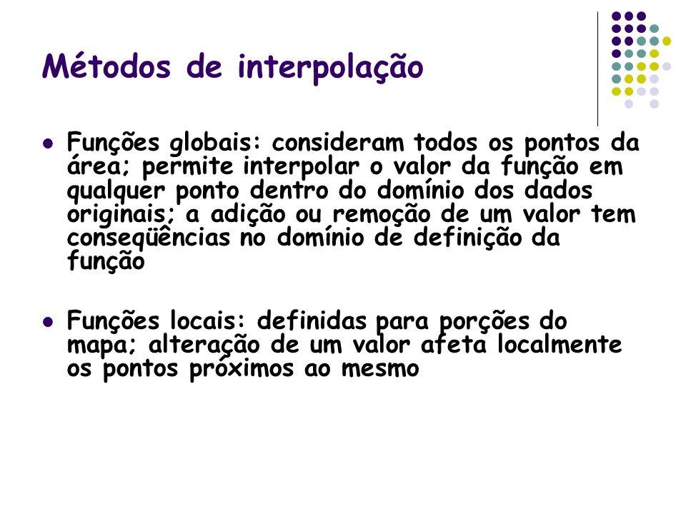 Métodos de interpolação Funções globais: consideram todos os pontos da área; permite interpolar o valor da função em qualquer ponto dentro do domínio