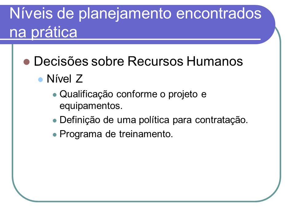 Níveis de planejamento encontrados na prática Decisões sobre Recursos Humanos Nível Z Qualificação conforme o projeto e equipamentos. Definição de uma