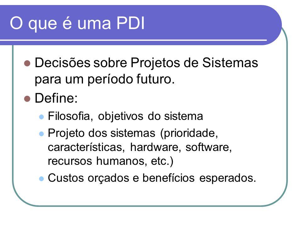 O que é uma PDI Decisões sobre Projetos de Sistemas para um período futuro. Define: Filosofia, objetivos do sistema Projeto dos sistemas (prioridade,