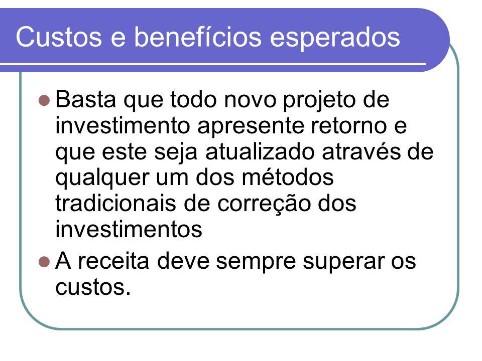 Custos e benefícios esperados Basta que todo novo projeto de investimento apresente retorno e que este seja atualizado através de qualquer um dos méto