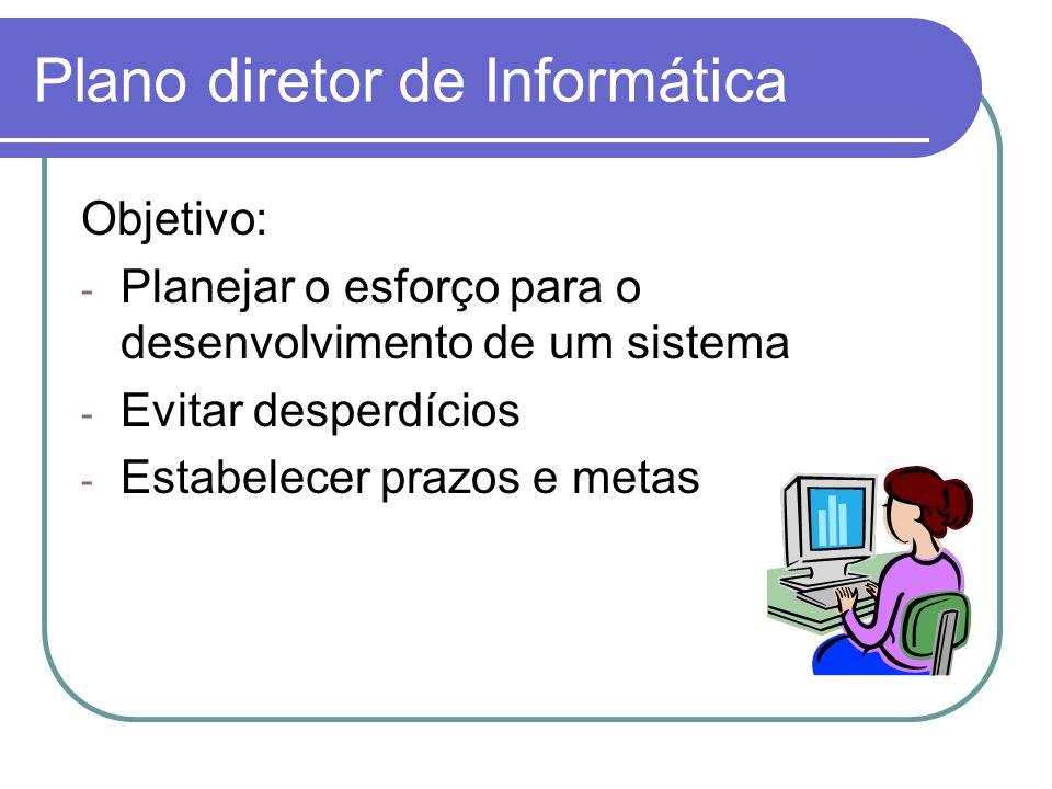 Plano diretor de Informática Objetivo: - Planejar o esforço para o desenvolvimento de um sistema - Evitar desperdícios - Estabelecer prazos e metas
