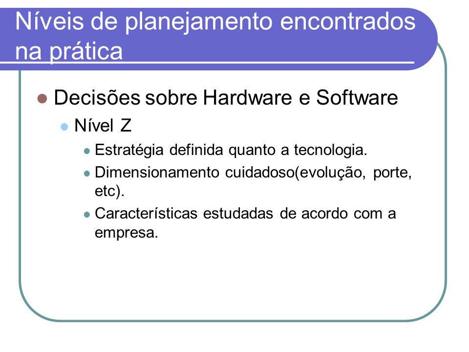 Níveis de planejamento encontrados na prática Decisões sobre Hardware e Software Nível Z Estratégia definida quanto a tecnologia. Dimensionamento cuid