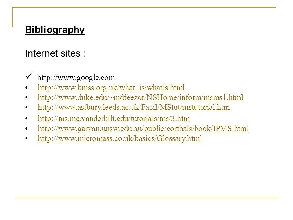Internet sites www.astbury.leeds.ac.uk/Facil/MStut/mstutorial.htm (Dr Alison E. Ashcroft at Leeds) www.astbury.leeds.ac.uk/Facil/MStut/mstutorial.htm