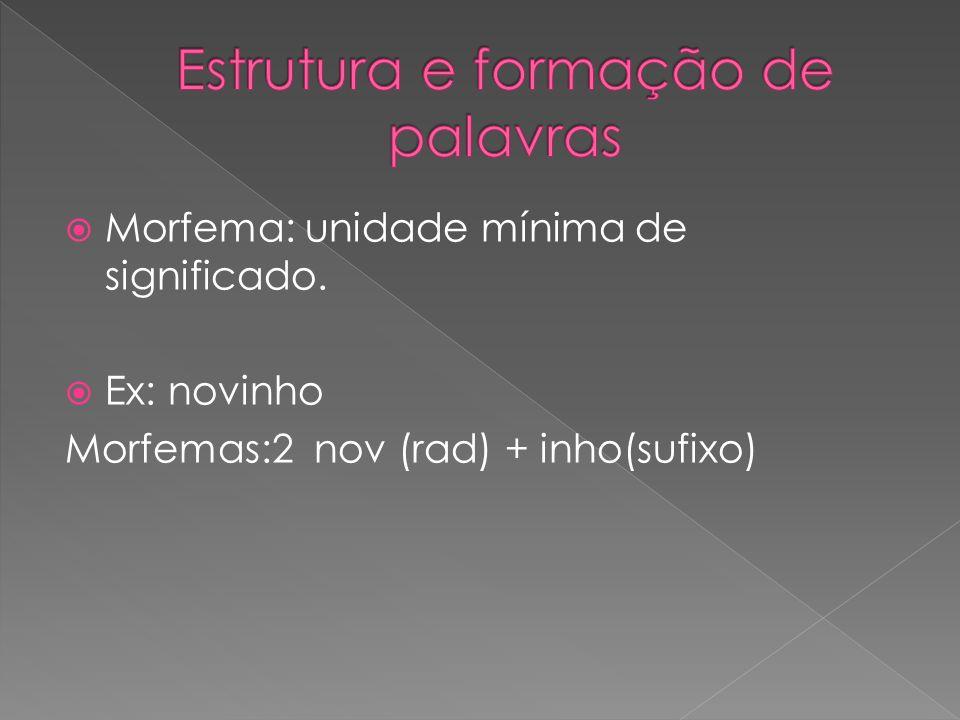 Morfema: unidade mínima de significado. Ex: novinho Morfemas:2 nov (rad) + inho(sufixo)