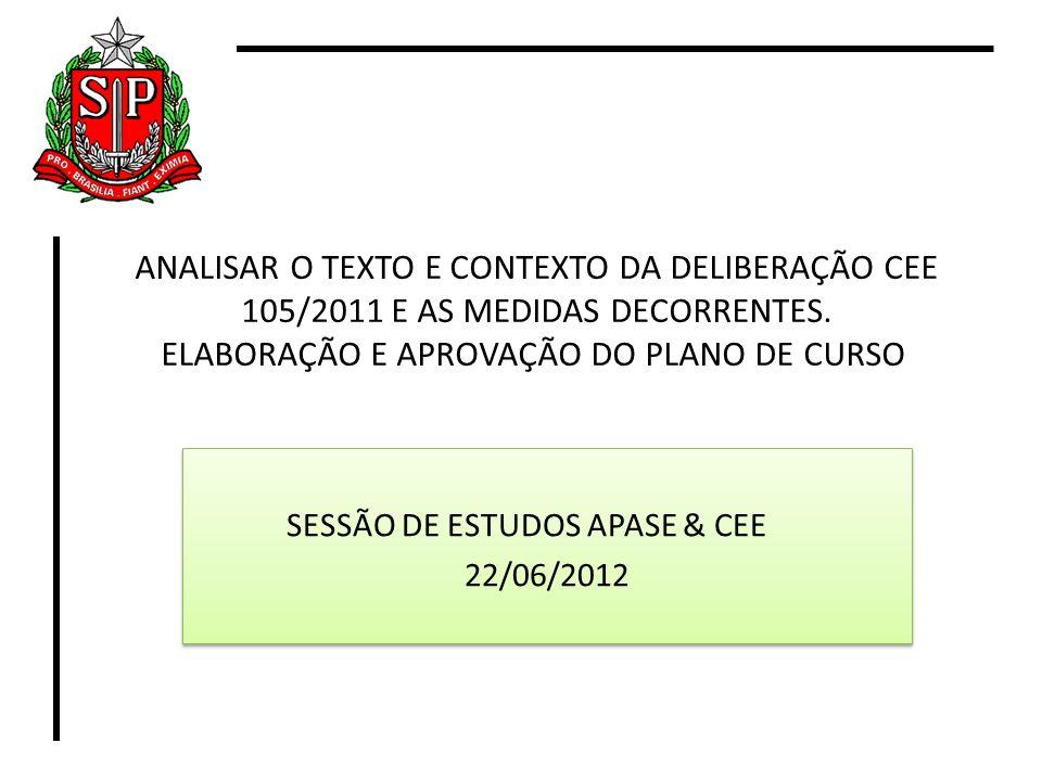 ANALISAR O TEXTO E CONTEXTO DA DELIBERAÇÃO CEE 105/2011 E AS MEDIDAS DECORRENTES. ELABORAÇÃO E APROVAÇÃO DO PLANO DE CURSO