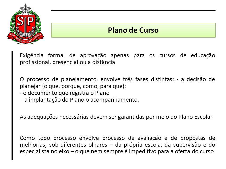 Exigência formal de aprovação apenas para os cursos de educação profissional, presencial ou a distância O processo de planejamento, envolve três fases