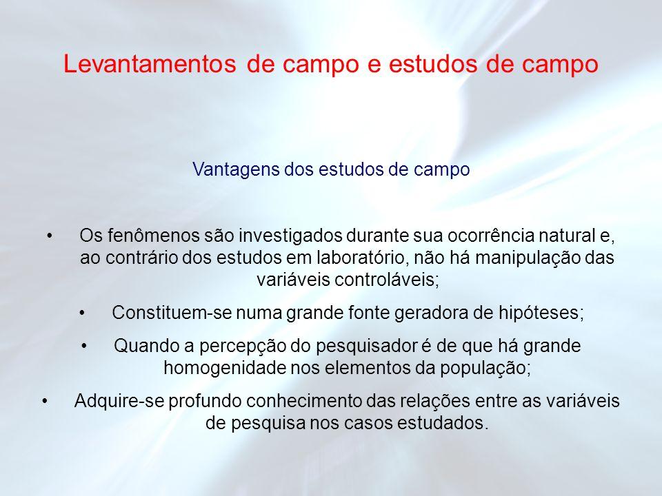 Vantagens dos estudos de campo Os fenômenos são investigados durante sua ocorrência natural e, ao contrário dos estudos em laboratório, não há manipul