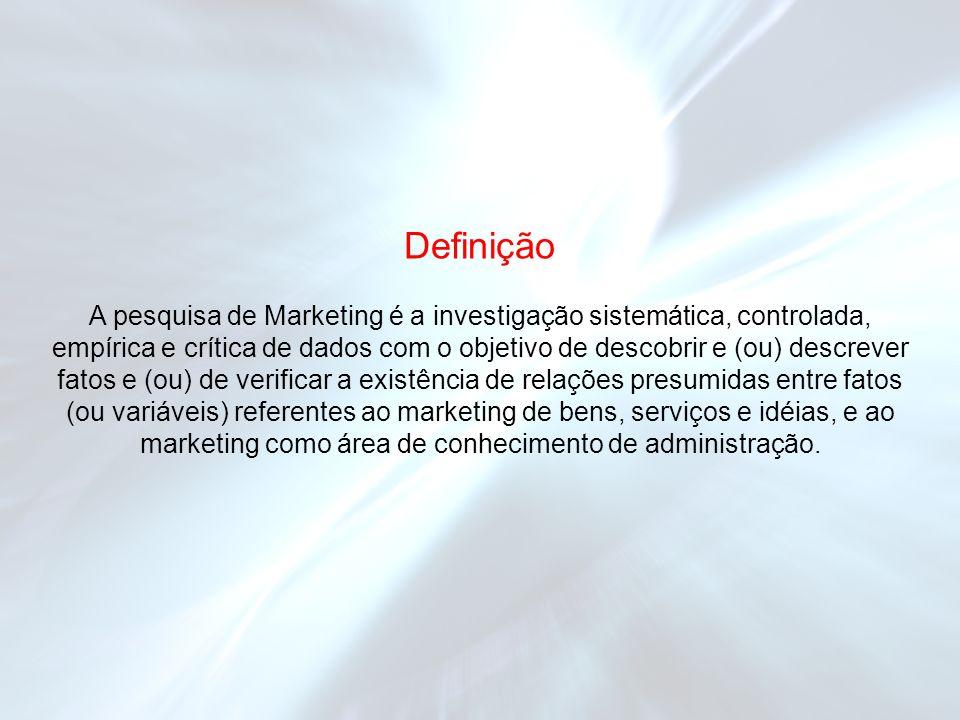 A pesquisa de Marketing é a investigação sistemática, controlada, empírica e crítica de dados com o objetivo de descobrir e (ou) descrever fatos e (ou