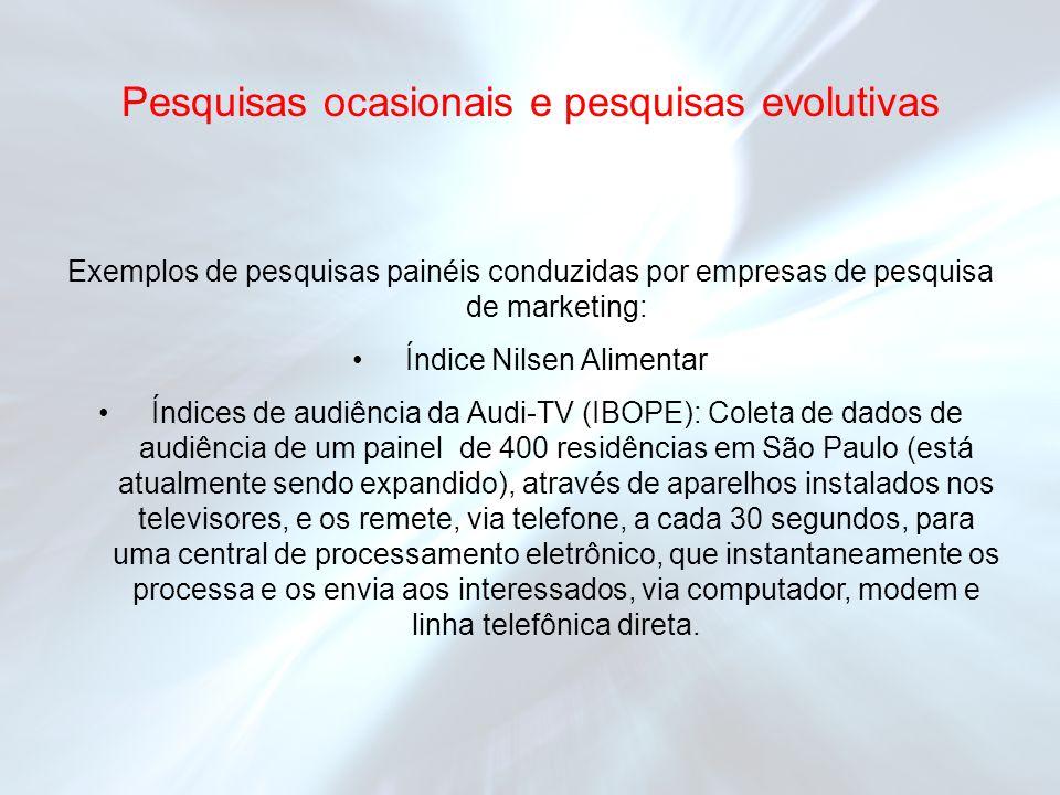 Exemplos de pesquisas painéis conduzidas por empresas de pesquisa de marketing: Índice Nilsen Alimentar Índices de audiência da Audi-TV (IBOPE): Colet