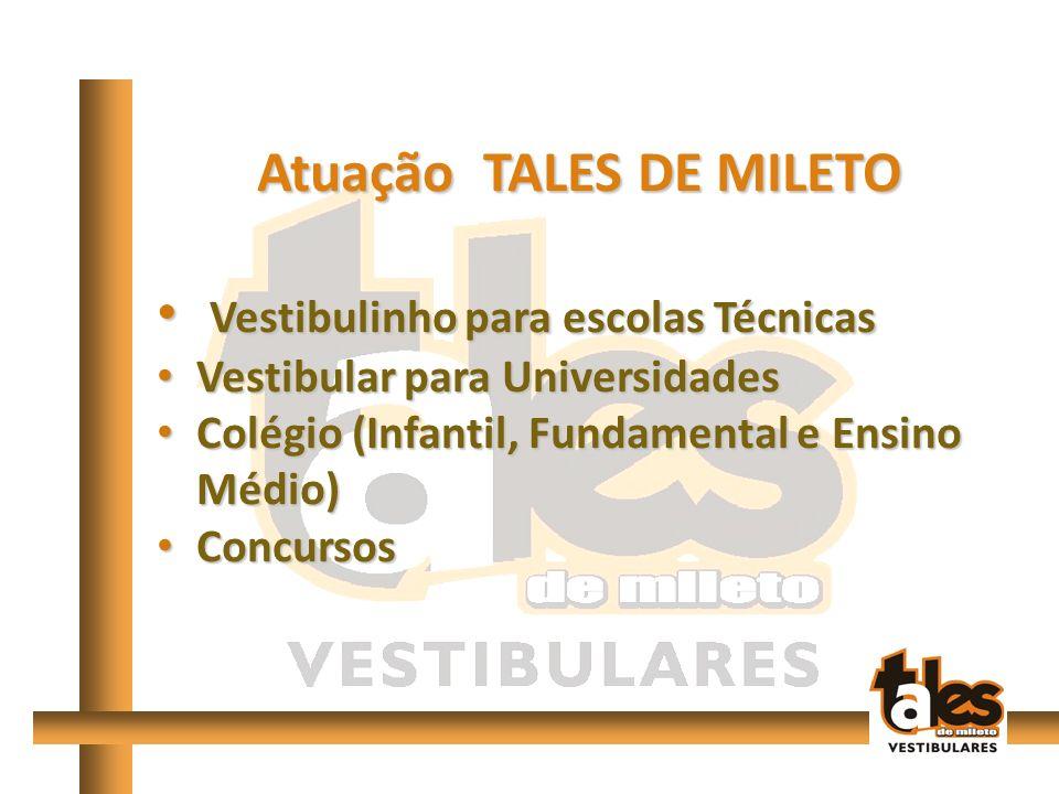 Atuação TALES DE MILETO Vestibulinho para escolas Técnicas Vestibulinho para escolas Técnicas Vestibular para Universidades Vestibular para Universidades Colégio (Infantil, Fundamental e Ensino Médio) Colégio (Infantil, Fundamental e Ensino Médio) Concursos Concursos