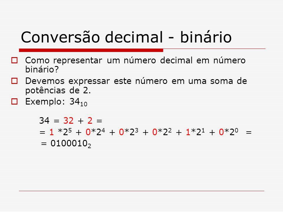 Conversão decimal - binário Como representar um número decimal em número binário? Devemos expressar este número em uma soma de potências de 2. Exemplo