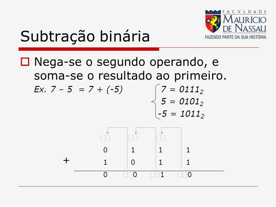 Subtração binária Nega-se o segundo operando, e soma-se o resultado ao primeiro. Ex. 7 – 5 = 7 + (-5) 7 = 0111 2 5 = 0101 2 -5 = 1011 2 (1) (1) (1) 01