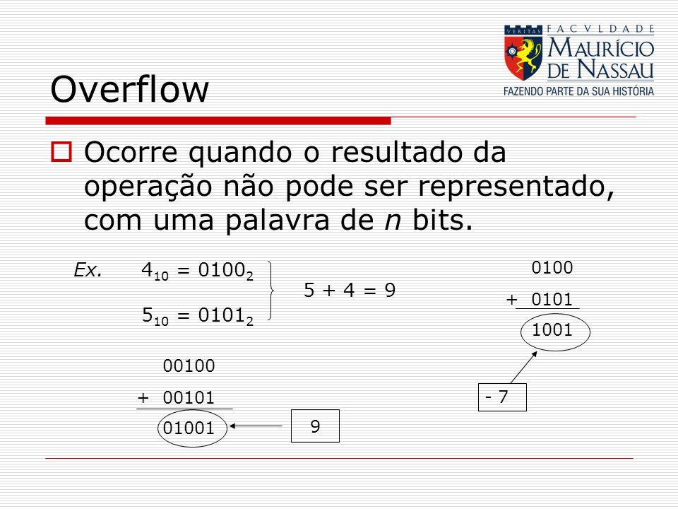 Overflow Ocorre quando o resultado da operação não pode ser representado, com uma palavra de n bits. Ex. 4 10 = 0100 2 5 10 = 0101 2 5 + 4 = 9 0100 +0