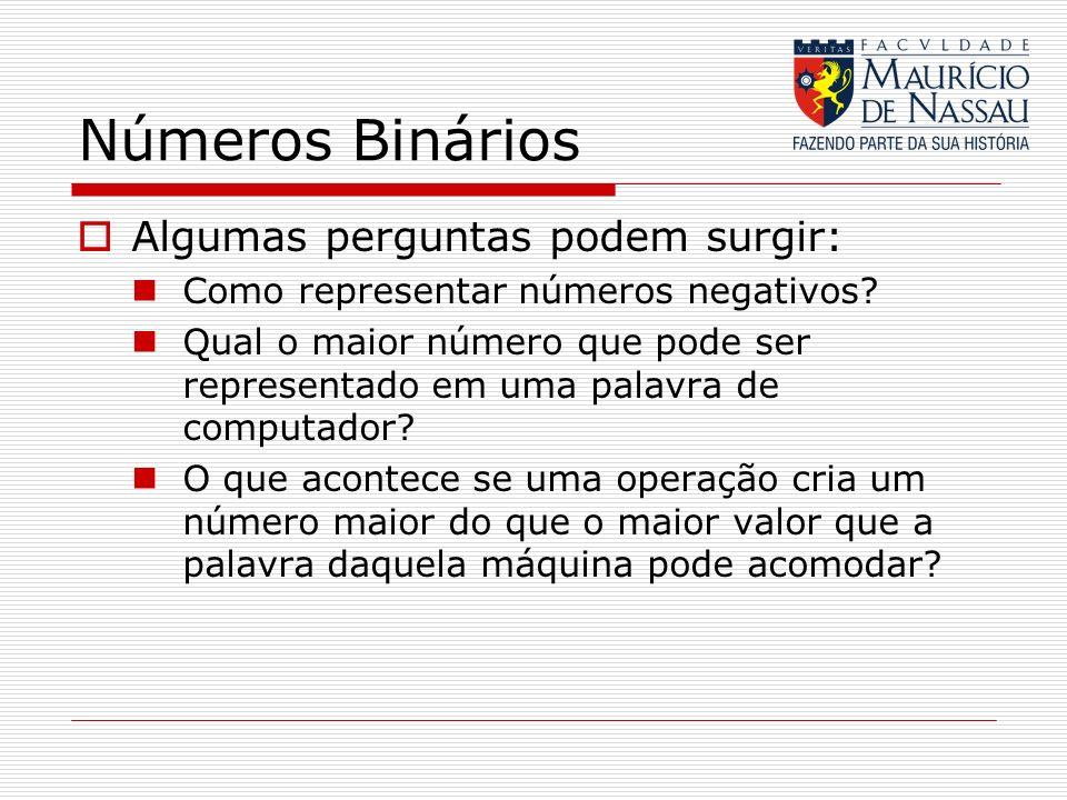 Números Binários Algumas perguntas podem surgir: Como representar números negativos? Qual o maior número que pode ser representado em uma palavra de c