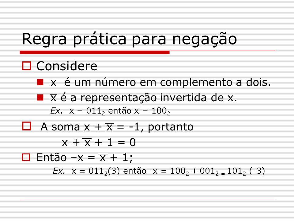 Regra prática para negação Considere x é um número em complemento a dois. x é a representação invertida de x. Ex. x = 011 2 então x = 100 2 A soma x +