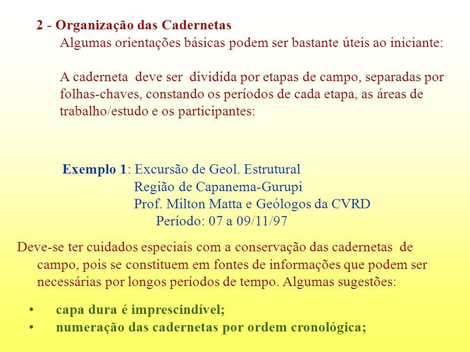 2 - Organização das Cadernetas Algumas orientações básicas podem ser bastante úteis ao iniciante: A caderneta deve ser dividida por etapas de campo, s