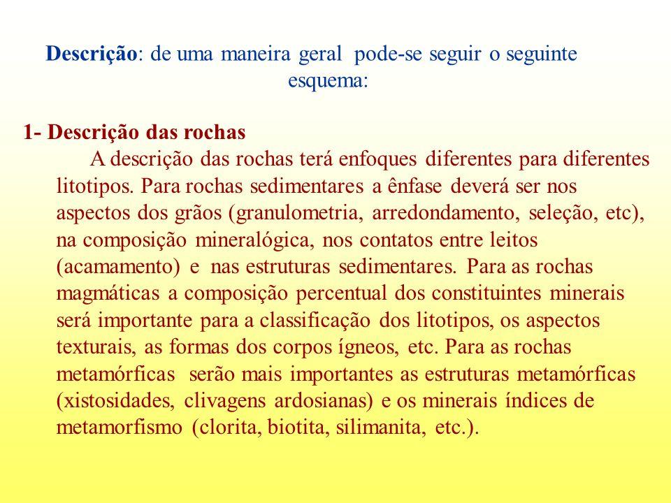 Descrição: de uma maneira geral pode-se seguir o seguinte esquema: 1- Descrição das rochas A descrição das rochas terá enfoques diferentes para difere