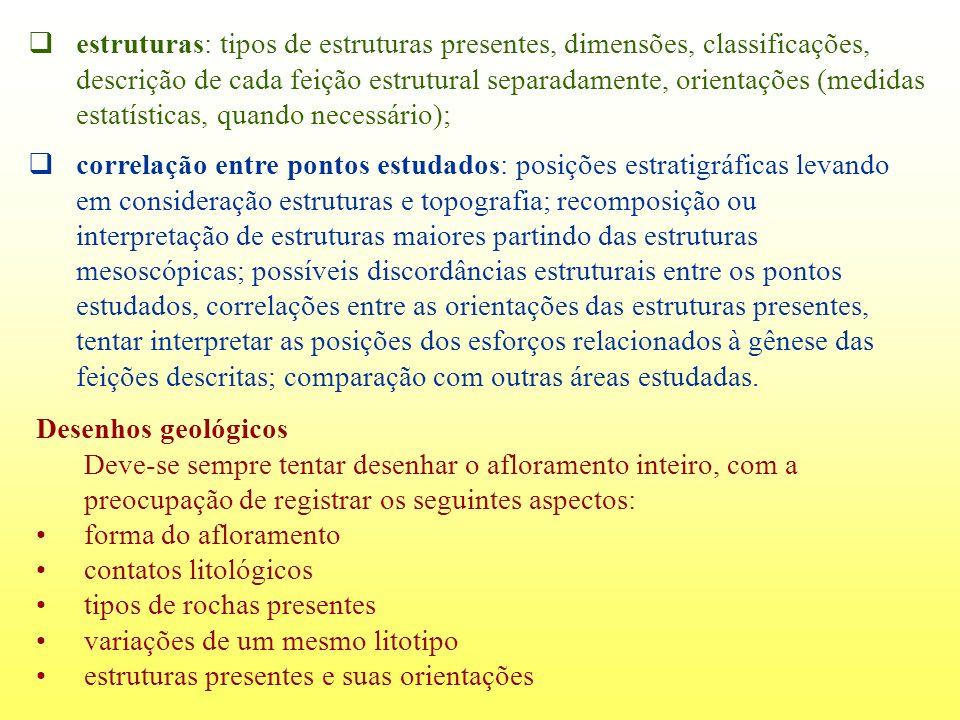 estruturas: tipos de estruturas presentes, dimensões, classificações, descrição de cada feição estrutural separadamente, orientações (medidas estatíst