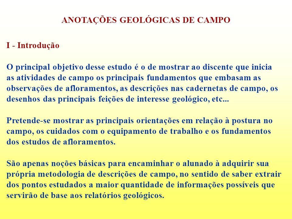 ANOTAÇÕES GEOLÓGICAS DE CAMPO I - Introdução O principal objetivo desse estudo é o de mostrar ao discente que inicia as atividades de campo os princip