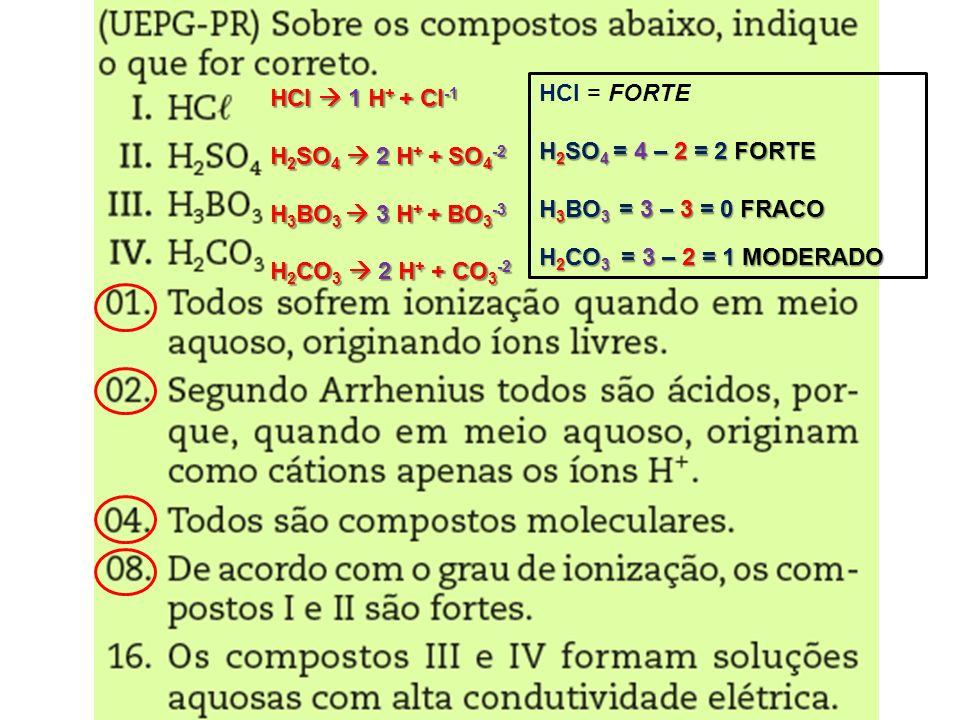 HCl 1 H + + Cl -1 H 2 SO 4 2 H + + SO 4 -2 H 3 BO 3 3 H + + BO 3 -3 H 2 CO 3 2 H + + CO 3 -2 HCl = FORTE H 2 SO 4 = 4 – 2 = 2 FORTE H 3 BO 3 = 3 – 3 =