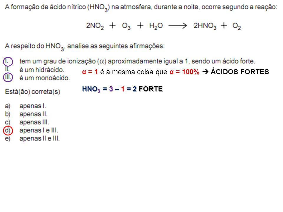α = 1 é a mesma coisa que α = 100% ÁCIDOS FORTES HNO 3 = 3 – 1 = 2 FORTE