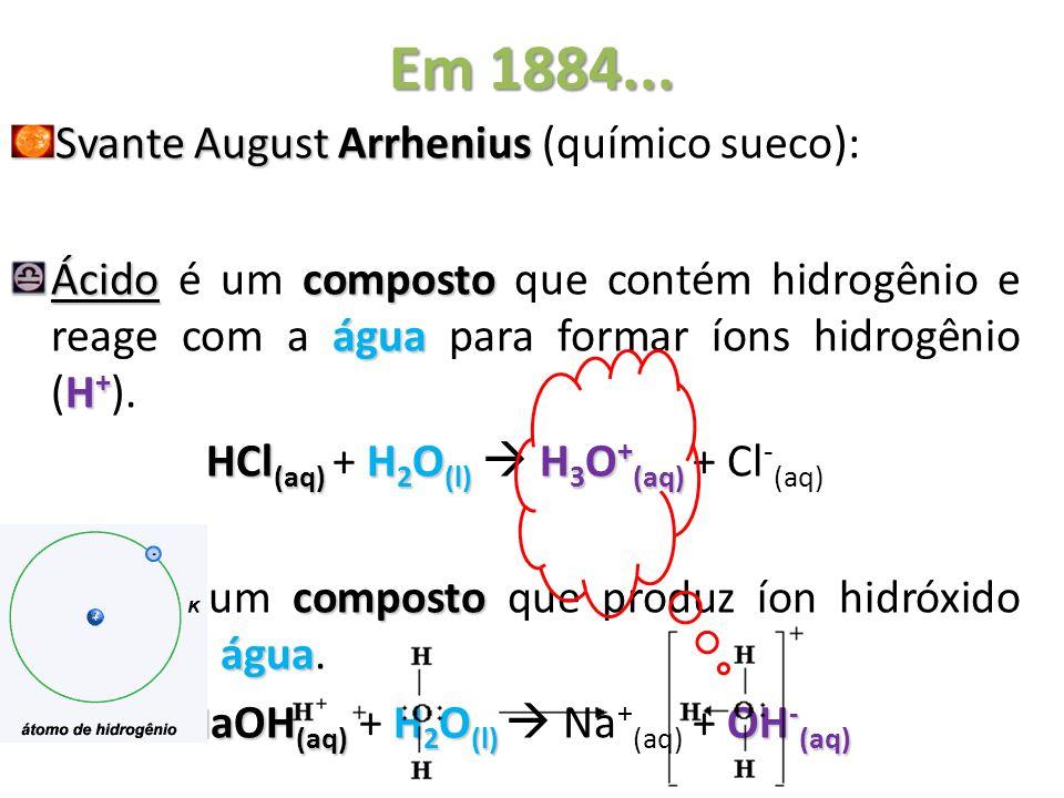 Em 1884... Svante August Arrhenius Svante August Arrhenius (químico sueco): Ácidocomposto água H + Ácido é um composto que contém hidrogênio e reage c