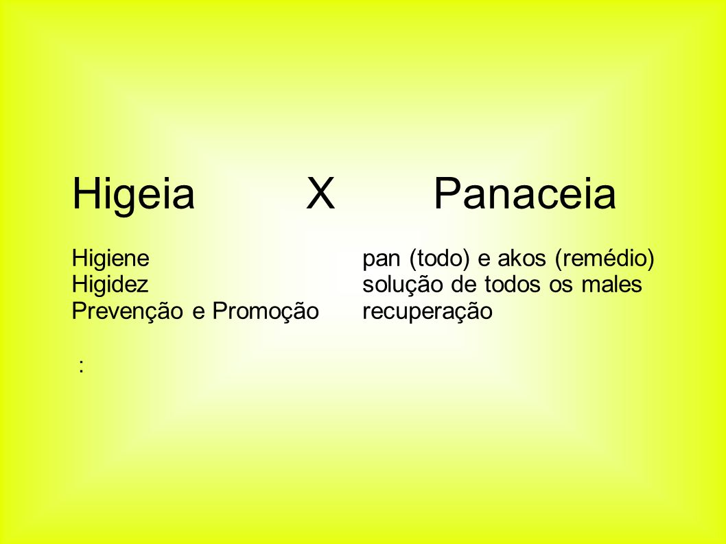 Higeia X Panaceia Higienepan (todo) e akos (remédio) Higidezsolução de todos os males Prevenção e Promoçãorecuperação :