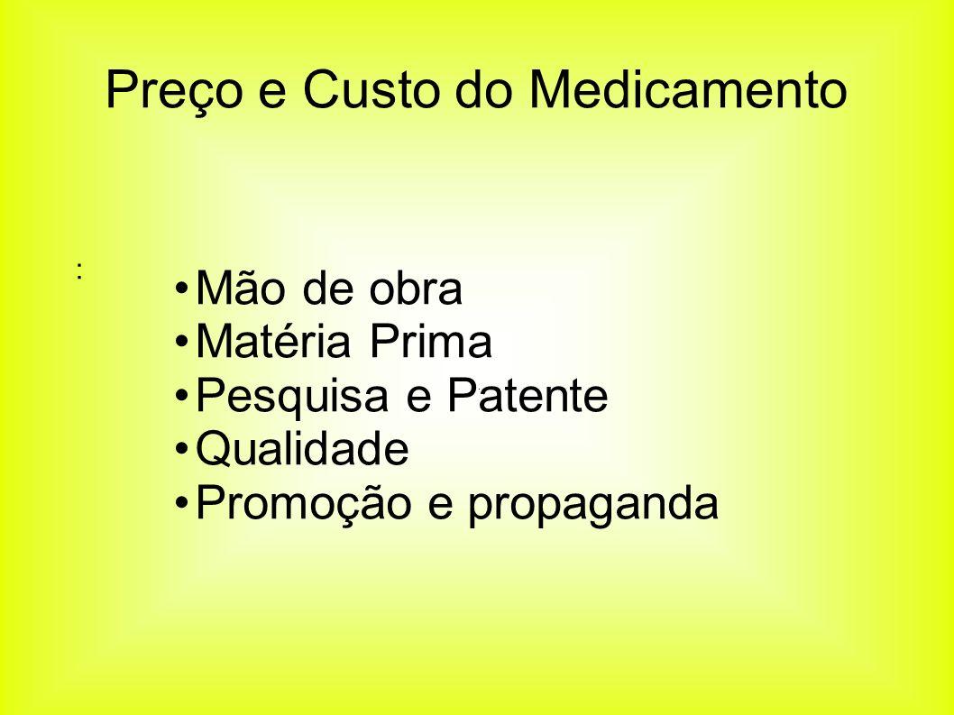 Mão de obra Matéria Prima Pesquisa e Patente Qualidade Promoção e propaganda : Preço e Custo do Medicamento