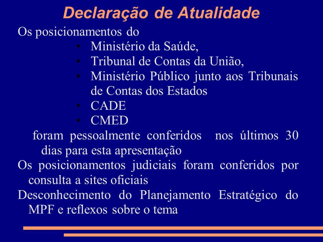 Declaração de Atualidade Os posicionamentos do Ministério da Saúde, Tribunal de Contas da União, Ministério Público junto aos Tribunais de Contas dos