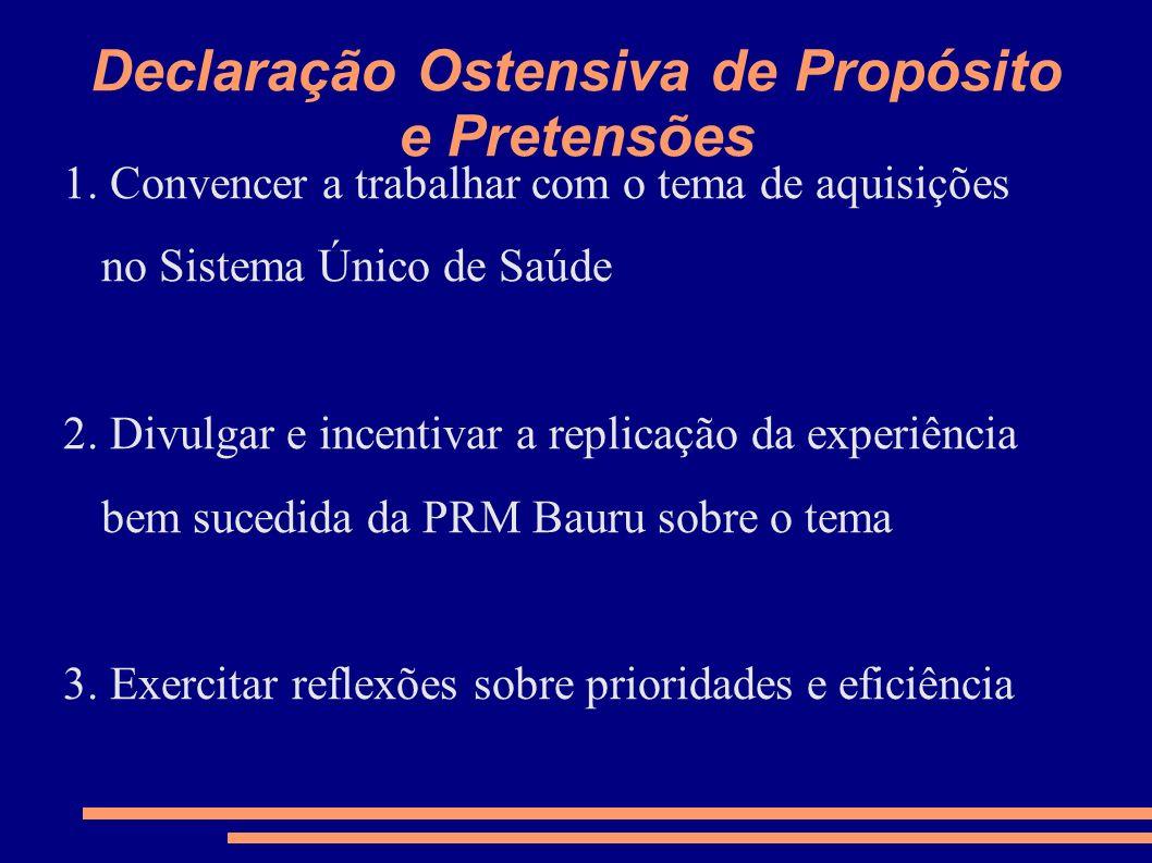 Declaração Ostensiva de Propósito e Pretensões 1. Convencer a trabalhar com o tema de aquisições no Sistema Único de Saúde 2. Divulgar e incentivar a