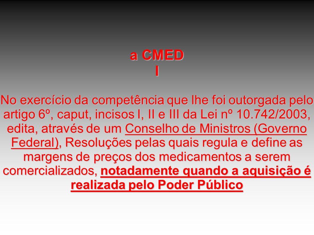a CMED I No exercício da competência que lhe foi outorgada pelo artigo 6º, caput, incisos I, II e III da Lei nº 10.742/2003, edita, através de um Cons