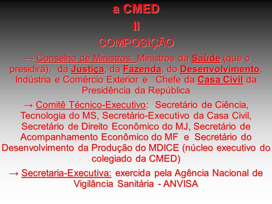 a CMED IICOMPOSIÇÃO Conselho de Ministros: Ministros da Saúde (que o presidirá), da Justiça, da Fazenda, do Desenvolvimento, Indústria e Comércio Exte