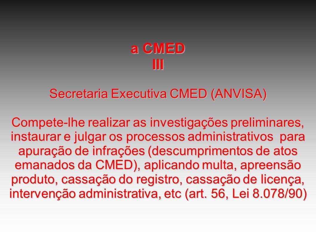 a CMED III Secretaria Executiva CMED (ANVISA) Compete-lhe realizar as investigações preliminares, instaurar e julgar os processos administrativos para