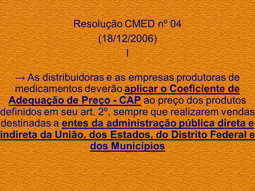 Resolução CMED nº 04 (18/12/2006) I As distribuidoras e as empresas produtoras de medicamentos deverão aplicar o Coeficiente de Adequação de Preço - C