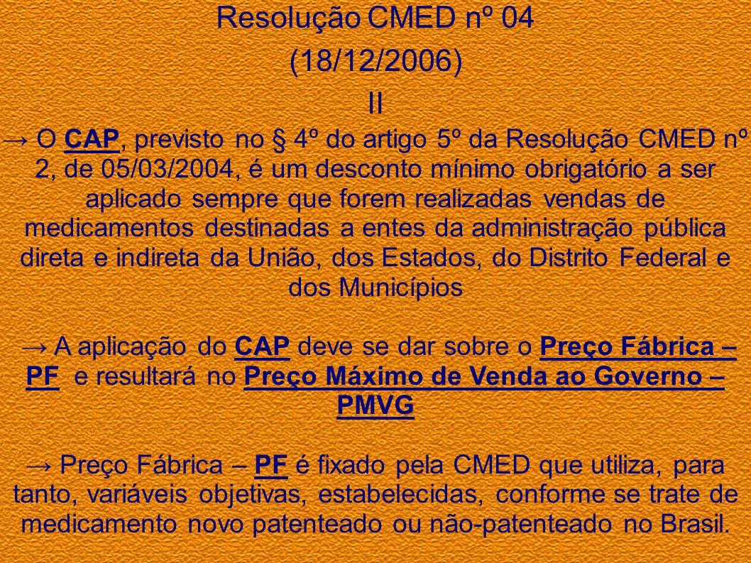 Resolução CMED nº 04 (18/12/2006) II O CAP, previsto no § 4º do artigo 5º da Resolução CMED nº 2, de 05/03/2004, é um desconto mínimo obrigatório a se