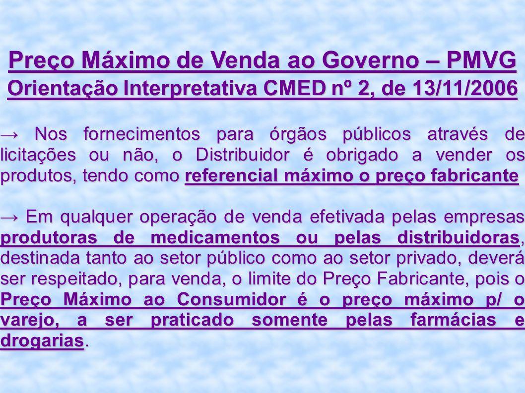 Preço Máximo de Venda ao Governo – PMVG Orientação Interpretativa CMED nº 2, de 13/11/2006 Nos fornecimentos para órgãos públicos através de licitaçõe