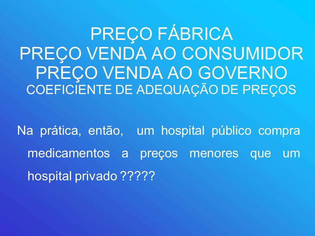 PREÇO FÁBRICA PREÇO VENDA AO CONSUMIDOR PREÇO VENDA AO GOVERNO COEFICIENTE DE ADEQUAÇÃO DE PREÇOS Na prática, então, um hospital público compra medica