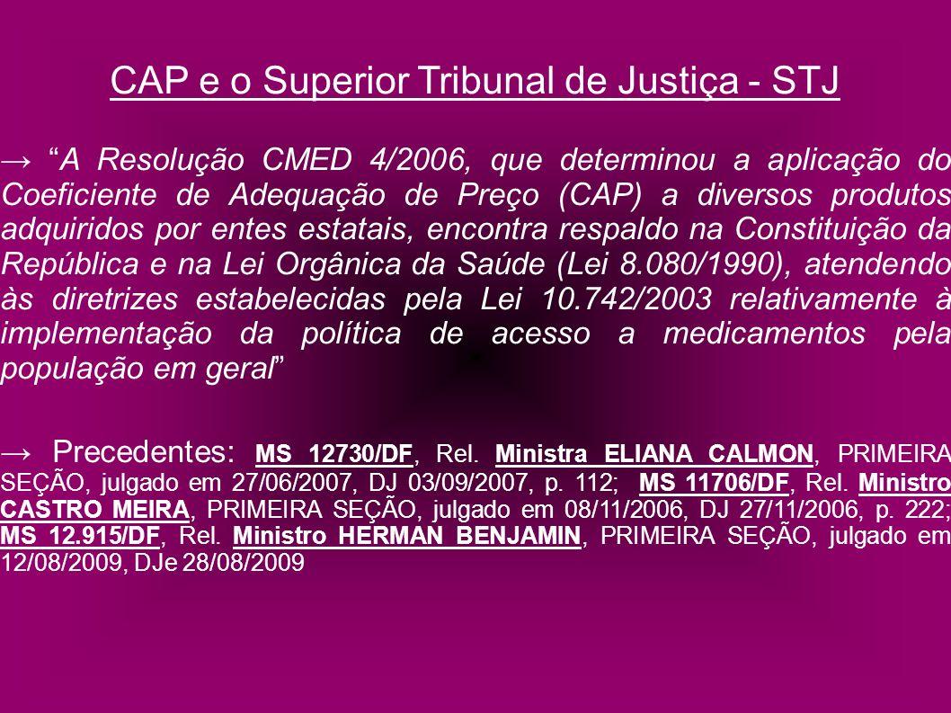 CAP e o Superior Tribunal de Justiça - STJ A Resolução CMED 4/2006, que determinou a aplicação do Coeficiente de Adequação de Preço (CAP) a diversos p